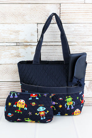 Robots In Space Quilted Diaper Bag with Navy Trim