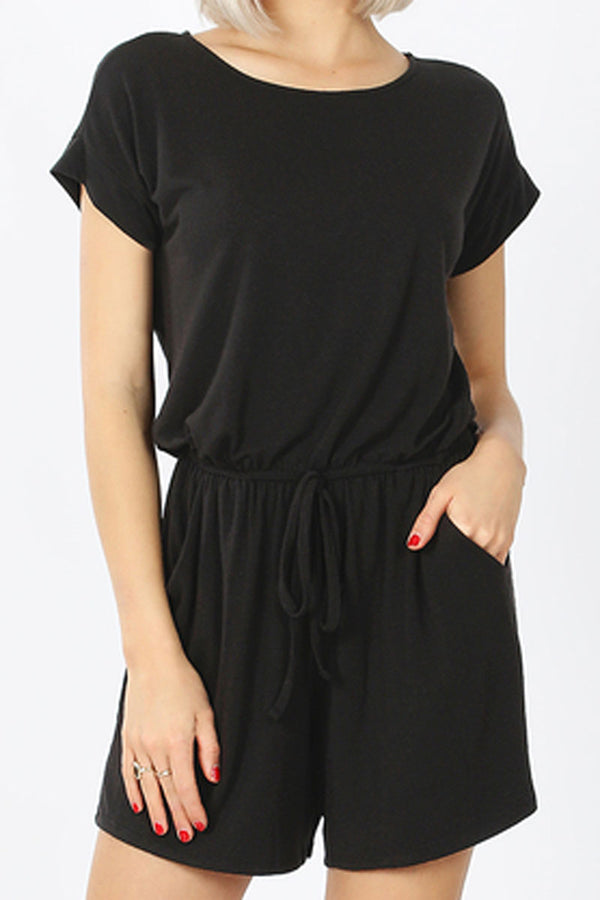 Black Short Sleeve Keyhole Back Romper with Pockets