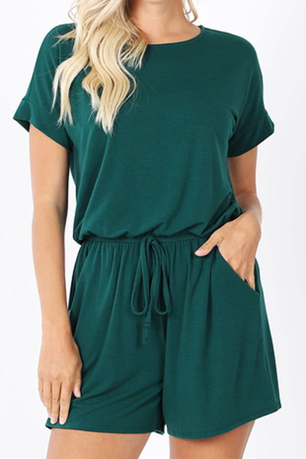Deep Green Short Sleeve Keyhole Back Romper with Pockets