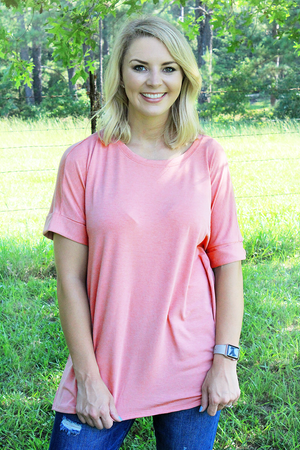 Dusty Rose Rolled Sleeve Top