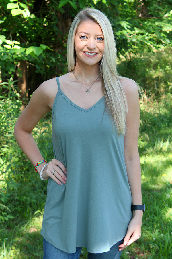 Blue Gray Reversible Camisole Tank
