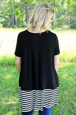 Plus Size Black with Striped Bottom Short Sleeve Top