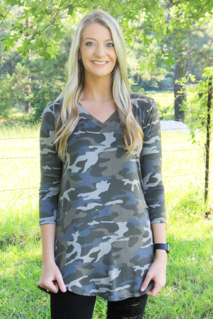 Dusty Camo 3/4 Sleeve V-Neck Top