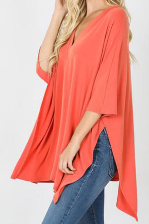 Ash Copper Center Band Oversize V-Neck Poncho