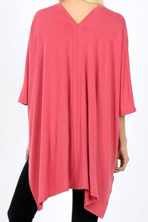 Rose Center Band Oversize V-Neck Poncho