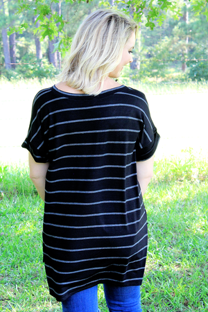 Black and Charcoal Striped Side Slit Rolled Sleeve Top