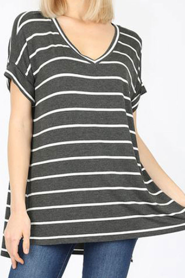 Charcoal Striped Side Slit Rolled Sleeve Top