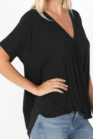 Black Rayon Crepe Draped Front Top