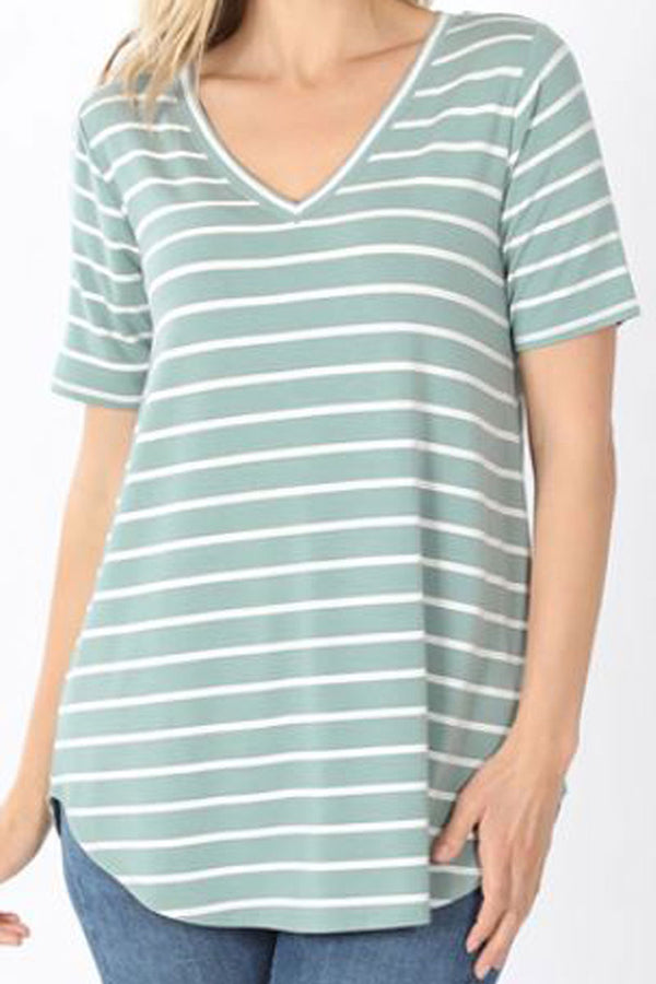 Light Green and Ivory Striped Short Sleeve V-Neck Top