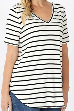 Ivory and Black Striped Short Sleeve V-Neck Top