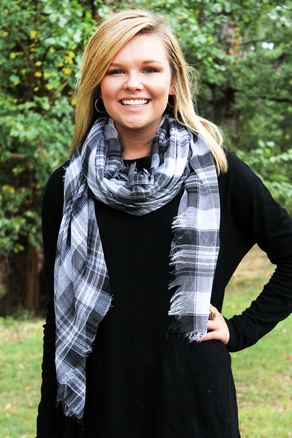 Plaid About You Square Scarf, Black