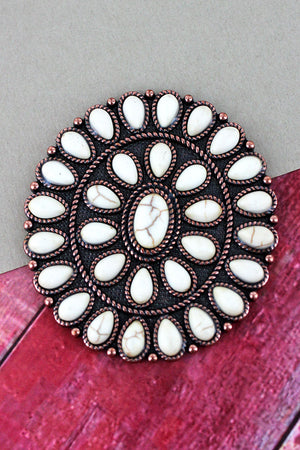 White Stone Beaded Coppertone Oval Concho Cell Phone Grip Cover
