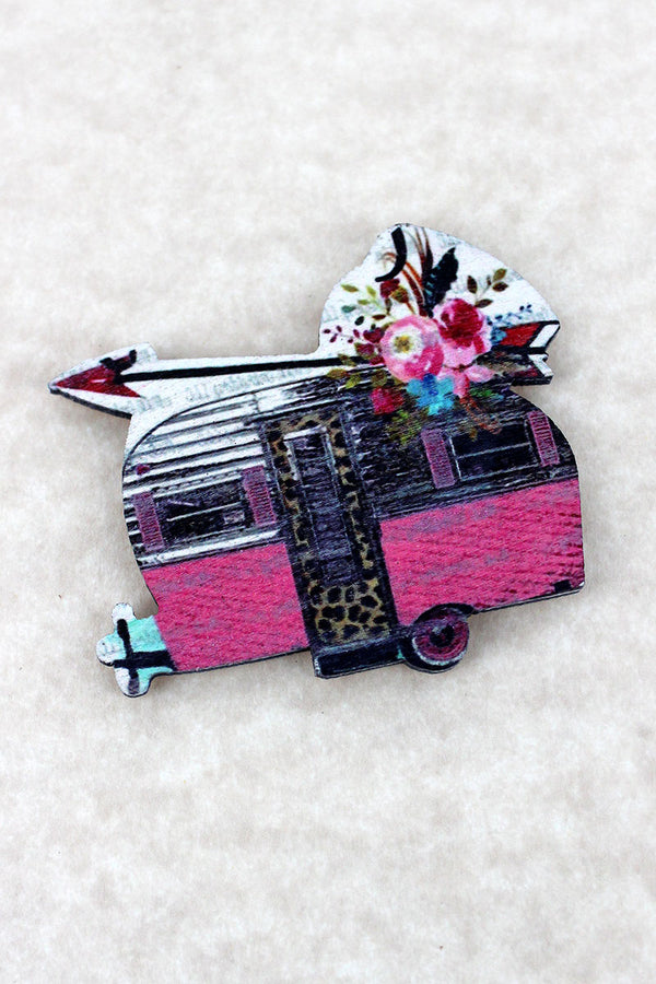 Floral Arrow and Pink Camper Self Adhesive Wood Charm