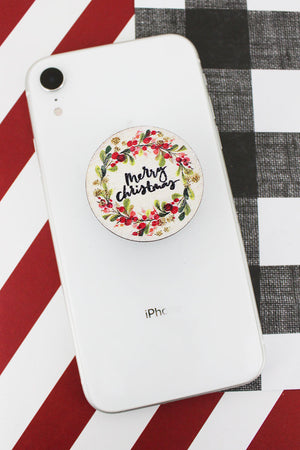 Glitter Wreathed 'Merry Christmas' Wood Cell Phone Grip Cover