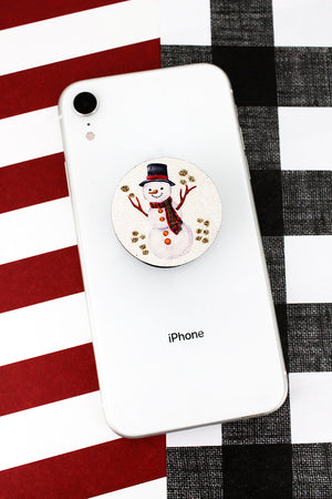 Glitter Snowman Wood Disk Cell Phone Grip Cover
