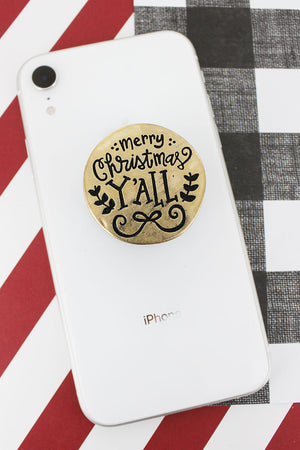 Worn Goldtone 'Merry Christmas Y'all' Cell Phone Grip Cover