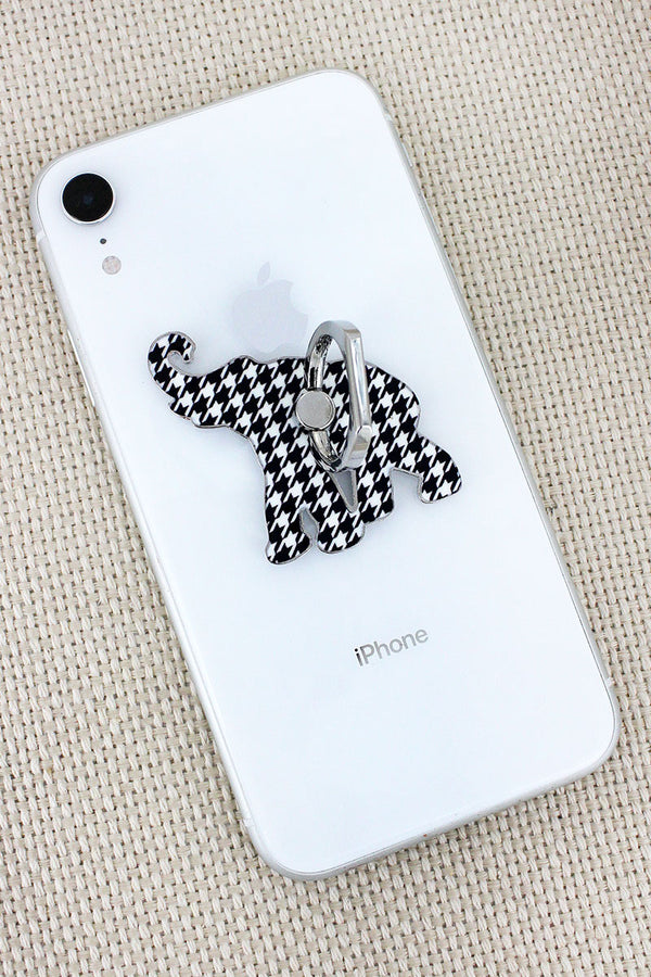 Houndstooth Elephant Cell Phone Finger Grip & Stand