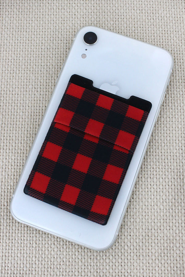 Red and Black Buffalo Plaid Phone Pocket