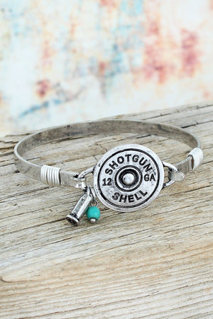 Burnished Silvertone 12 Gauge Shotgun Shell Bracelet #SB0280-SB