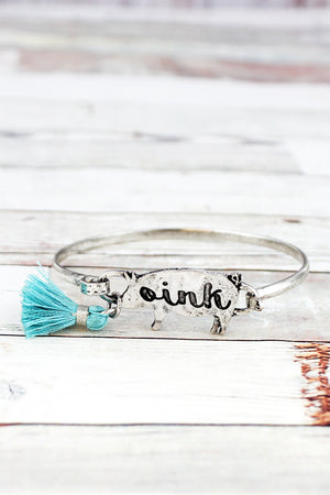 Burnished Silvertone 'Oink' Pig and Blue Tassel Bracelet