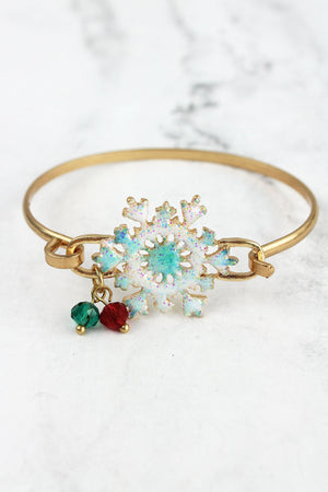 White and Blue Snowflake Goldtone Bracelet