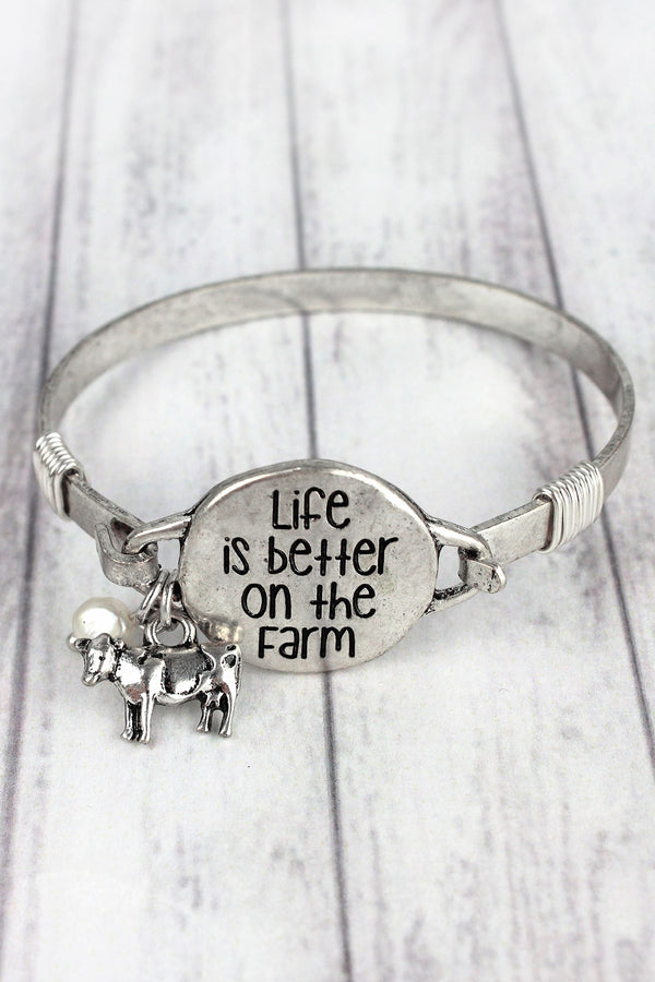 Burnished Silvertone 'Life Is Better On The Farm' Bracelet
