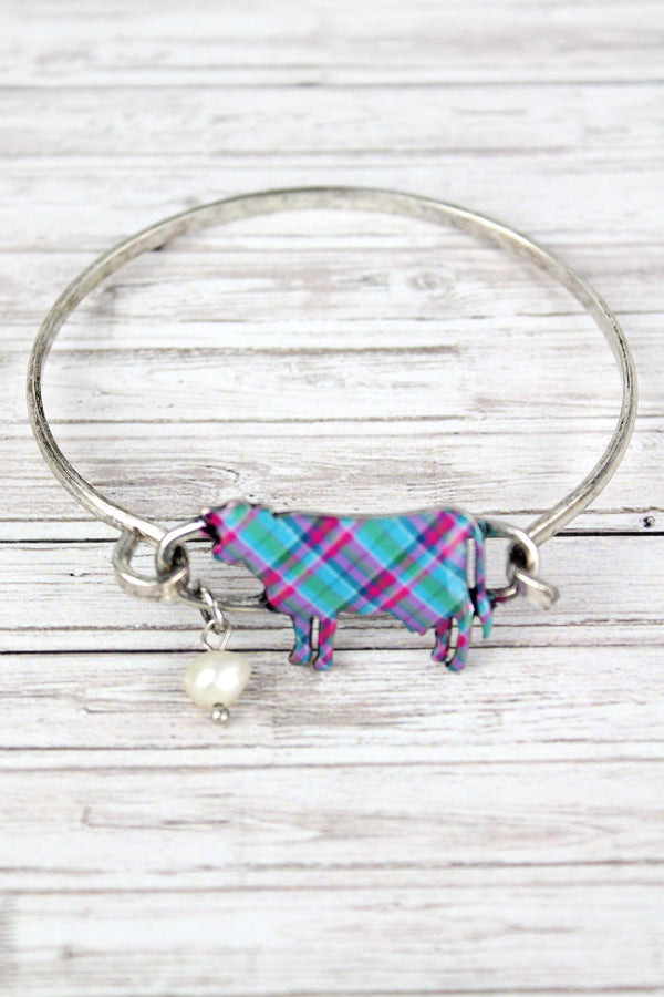 Perfectly Plaid Cow Burnished Silvertone Bracelet