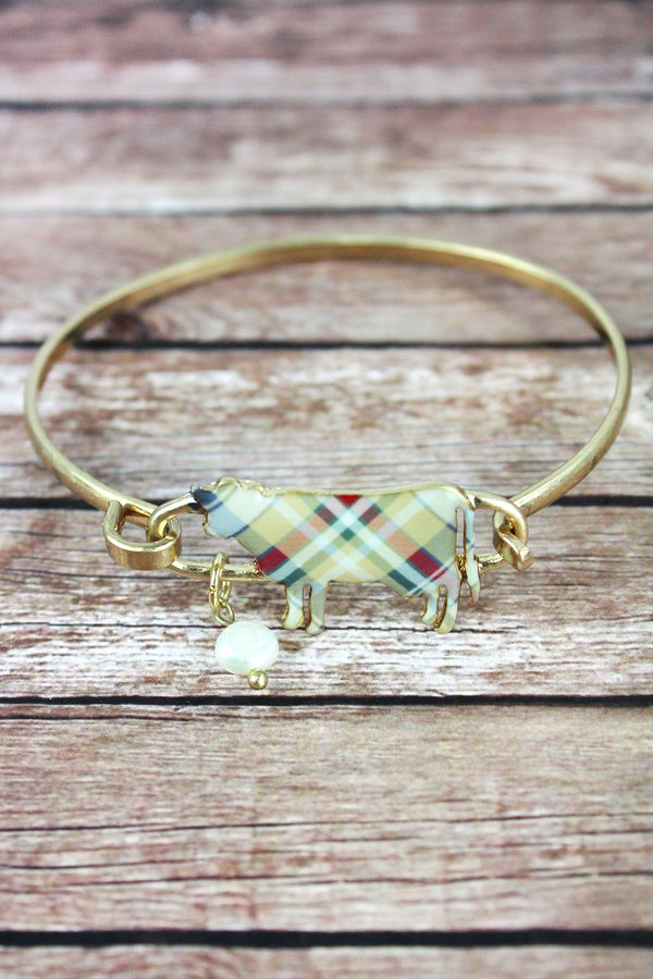 Perfectly Plaid Cow Worn Goldtone Bracelet