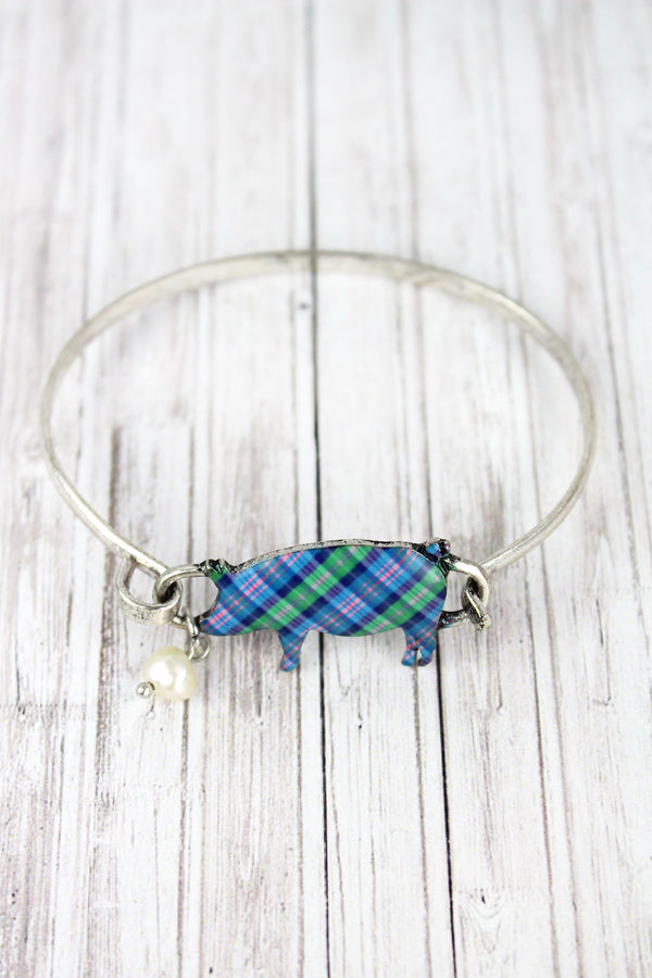 Perfectly Plaid Pig Burnished Silvertone Bracelet