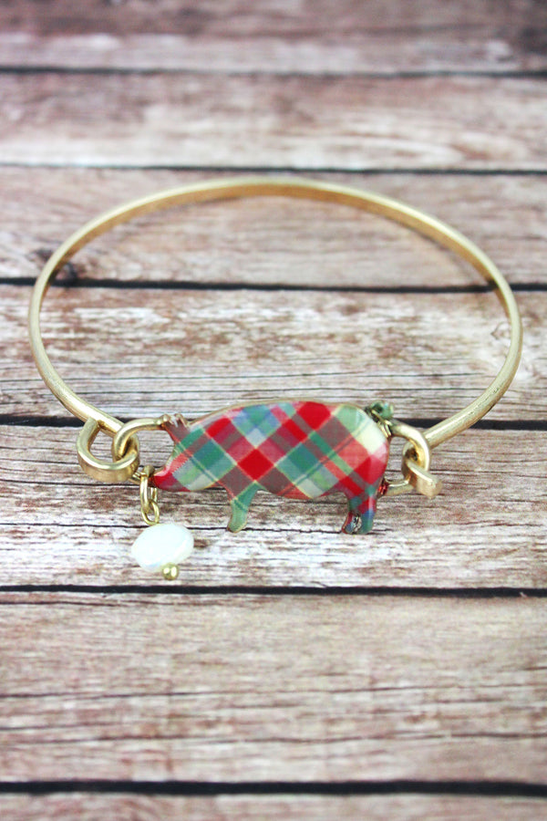 Perfectly Plaid Pig Worn Goldtone Bracelet