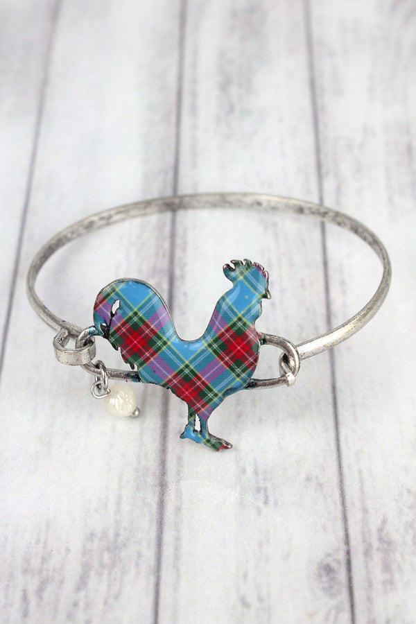 Perfectly Plaid Rooster Silvertone Bracelet