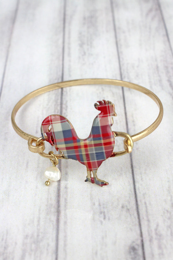 Perfectly Plaid Rooster Goldtone Bracelet