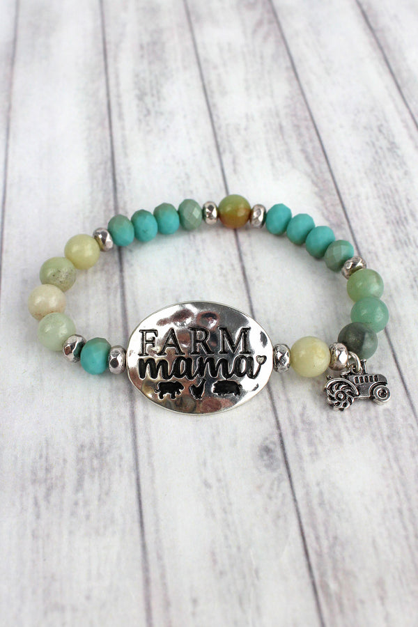 Burnished Silvertone 'Farm Mama' Turquoise Beaded Stretch Bracelet