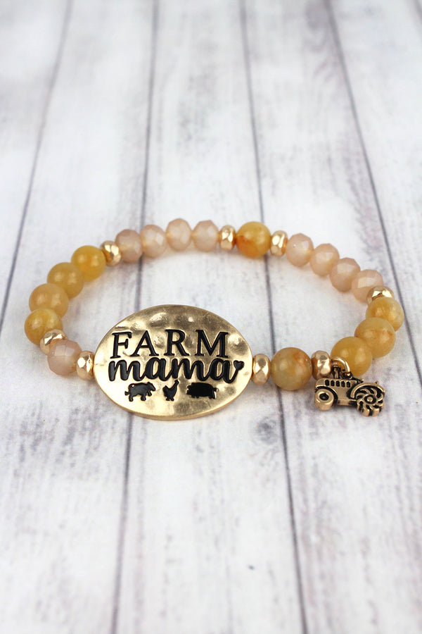 Worn Goldtone 'Farm Mama' Natural Beaded Stretch Bracelet
