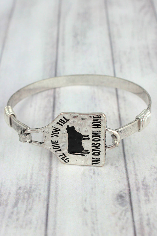 Burnished Silvertone 'Till The Cows Come Home' Bracelet