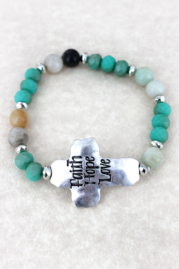 Silvertone 'Faith Hope Love' Turquoise Beaded Stretch Bracelet
