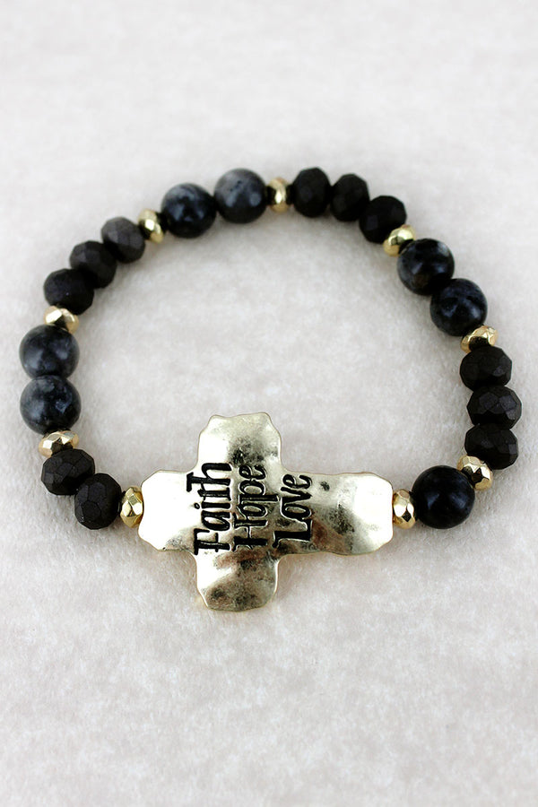 Goldtone 'Faith Hope Love' Black Beaded Stretch Bracelet