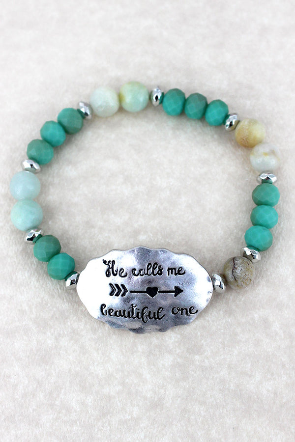Silvertone 'Beautiful One' Turquoise Beaded Stretch Bracelet
