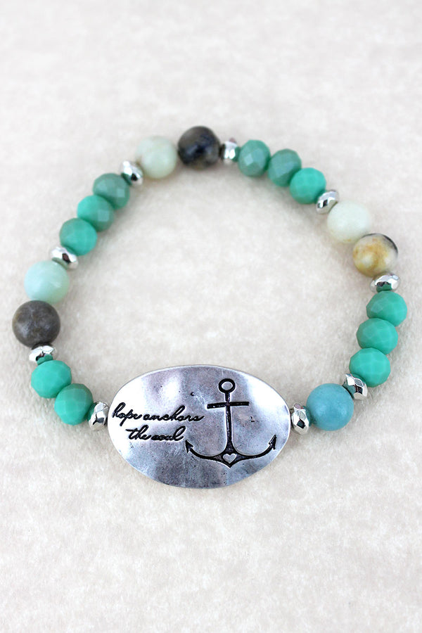 Silvertone 'Hope Anchors The Soul' Turquoise Beaded Stretch Bracelet
