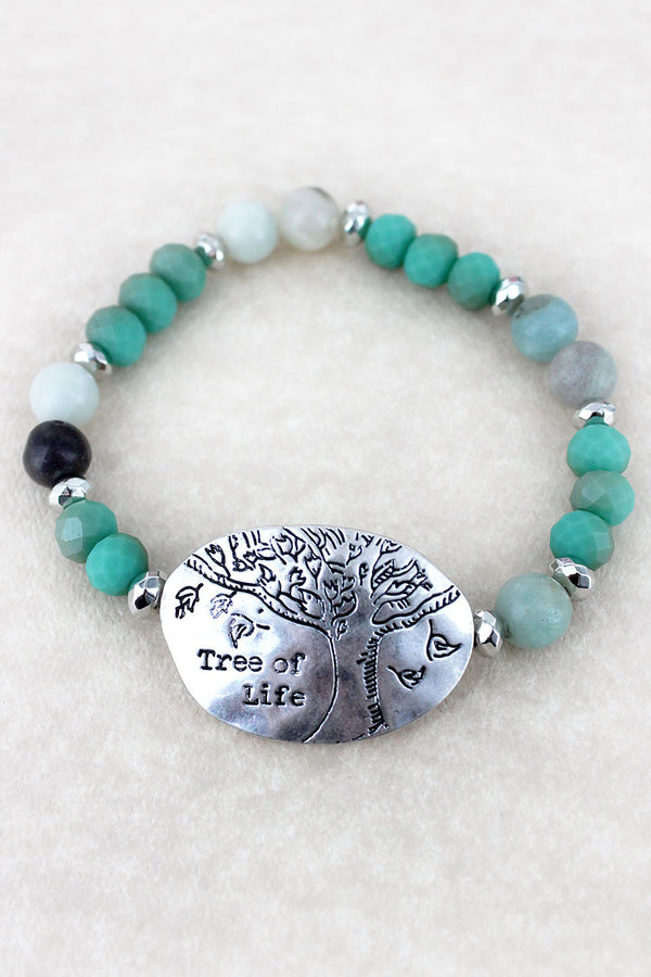 Silvertone 'Tree Of Life' Turquoise Beaded Stretch Bracelet