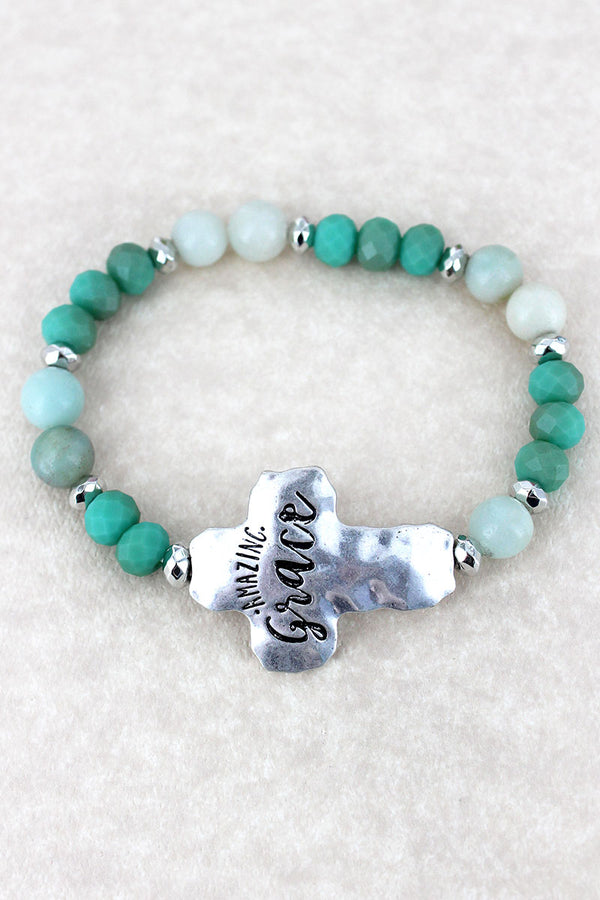 Silvertone 'Amazing Grace' Turquoise Beaded Stretch Bracelet