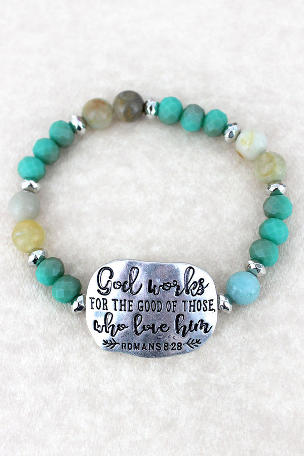 Silvertone 'God Works' Turquoise Beaded Stretch Bracelet