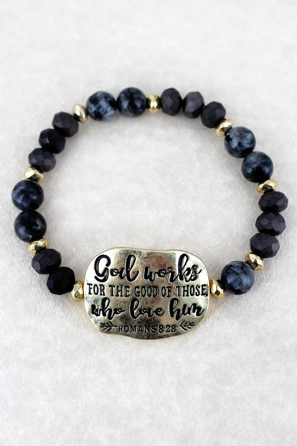 Goldtone 'God Works' Black Beaded Stretch Bracelet