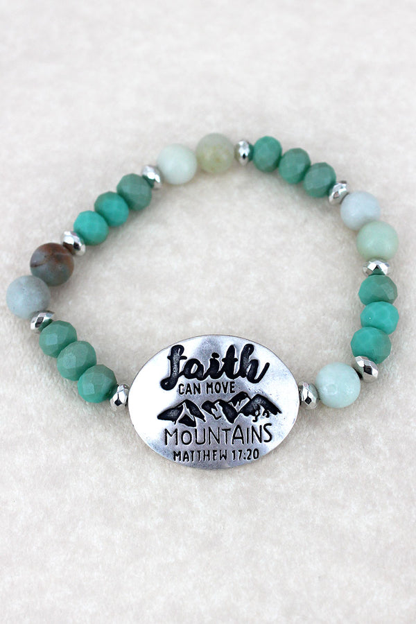 Silvertone 'Faith Can Move Mountains' Turquoise Beaded Stretch Bracelet