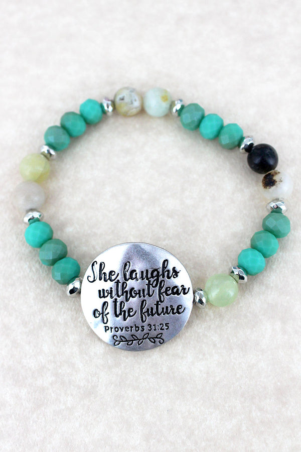 Silvertone 'She Laughs' Turquoise Beaded Stretch Bracelet