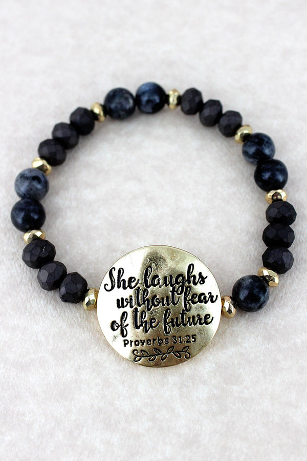 Goldtone 'She Laughs' Black Beaded Stretch Bracelet