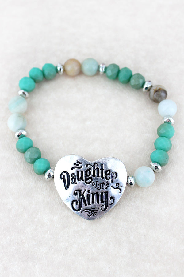 Silvertone 'Daughter Of The King' Turquoise Beaded Stretch Bracelet