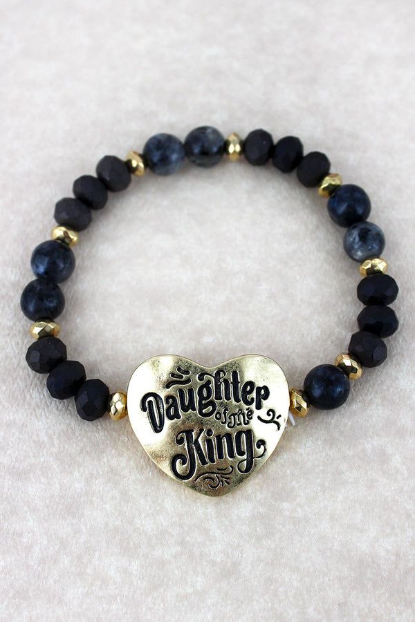 Goldtone 'Daughter Of The King' Black Beaded Stretch Bracelet