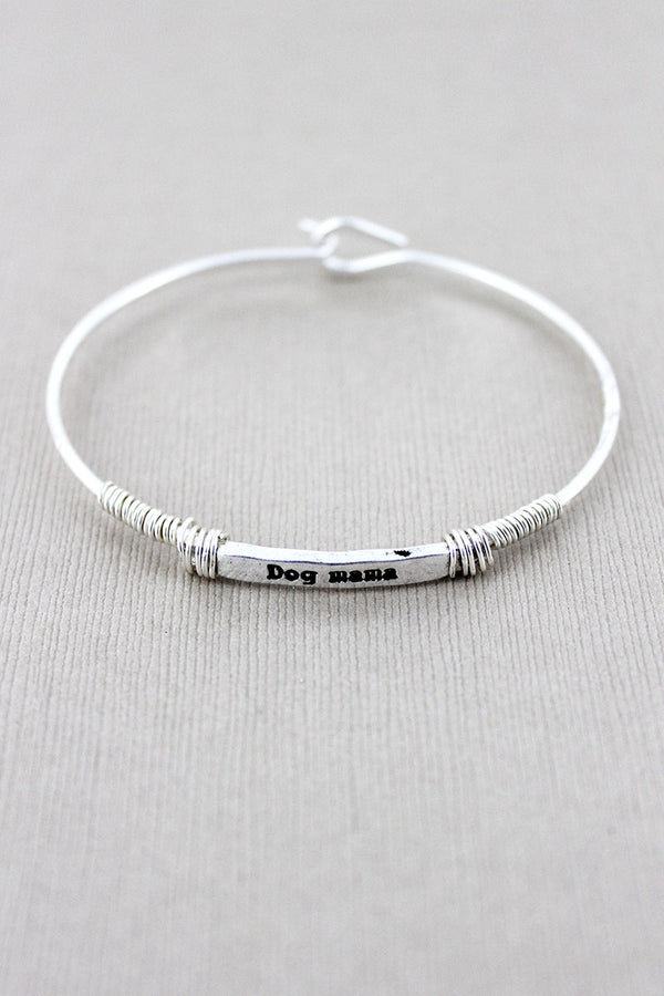 Worn Silvertone 'Dog Mama' Wire-Wrapped Bar Bracelet