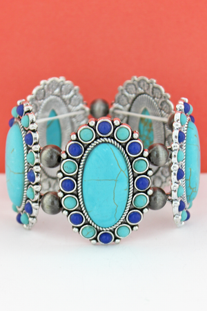 Turquoise & Blue Oval Stone Flower and Navajo Pearl Stretch Bracelet